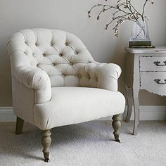 Linen Button Back Armchair - Natural | Primrose & Plum