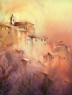 by Michel Malengreau Watercolor Painting Techniques, Watercolor Landscape, Abstract Watercolor, Watercolor And Ink, Watercolour Painting, Landscape Art, Landscape Paintings, Abstract Art, Watercolors