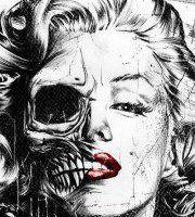 Marilyn Monroe half skull face - by Munk One Half Skull Face, Skeleton Face, Illustration Arte, Totenkopf Tattoos, Paar Tattoos, Drawn Art, Marilyn Monroe Art, Marilyn Monroe Wallpaper, Arte Pop
