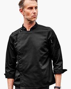 Black Professional Chef, White Long Sleeve, Chef Jackets, Sleeves, Cotton, Mens Tops, Black, Fashion, Moda