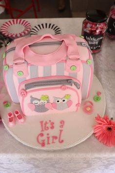Ideas For Birthday Cake Fondant Girl Pink Baby Shower Fondant Girl, Fondant Cakes, Cupcake Cakes, Gateau Baby Shower Garcon, Diaper Bag Cake, Bolo Fack, Torta Baby Shower, Cake Pops, Shower Bebe