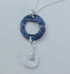 Moonstone and Silver Disk  Pendant  June by MingJewelsChic on Etsy