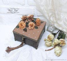 """Купить Шкатулка """"Розы после дождя"""" """" - коричневый, подарок, шкатулка, розы, шкатулка деревянная"""
