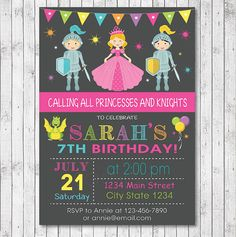 Princesses And Knights Birthday Invitation Card  by funkymushrooms