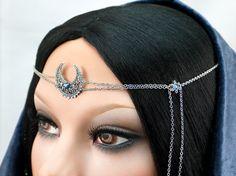 Jannali Blue Headpiece  Silver Filigree by CastalynStudios on Etsy