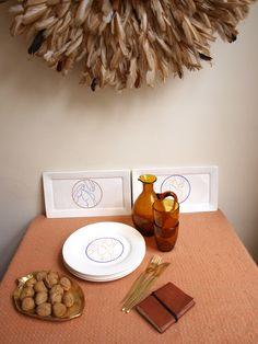 Catchii, orange, plates, feathers