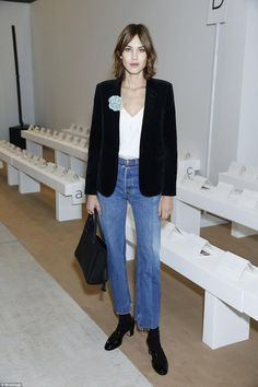 Alexa Chung wearing Saint Laurent Velvet Blazer, Vetements Jeans, Valentino Criss Cross Ankle Pumps, Longchamp Penelope Tote in Midnight, Longchamp Penelope Tote and Marks & Spencer Archive by Alexa Hattie Top