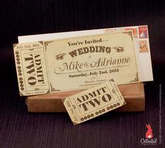 Image of Vintage Western Ticket Save the Date Wedding Invitation Sample