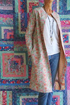 Lotta Jansdotter's Pivli Coat in Amy Butler's Soul Mate print Kaleidoscope-Bone.