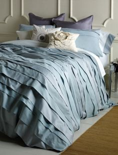 My favorite! Image of the Belgravia elegant iced blue duvet cover set made of sateen and linen. Includes comforter cover/matching sham  -300 thread count  -button duvet, envelope sham $465