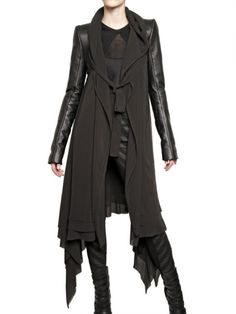 Gareth Pugh Leather Sleeves Silk Chiffon Coat in Black - Lyst
