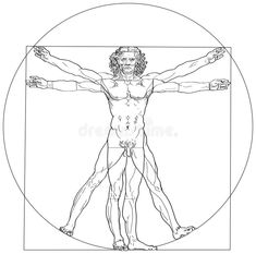Illustration of The Vitruvian man, or so called Leonardo's man. Detailed drawing on the basis of artwork by Leonardo da Vinci (executed circa in by ancient manuscript of Roman master Marcus Vitruvius Pollio. vector art, clipart and stock vectors. Vitruvian Man Tattoo, Da Vinci Vitruvian Man, Conceptual Drawing, Full Body Tattoo, Cool Tattoos For Guys, Desenho Tattoo, Tattoo Project, Creative Tattoos, Detailed Drawings