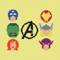 Marvel Avengers heads cross stitch sampler PDF pattern via Etsy Cross Stitch Samplers, Cross Stitching, Cross Stitch Patterns, Avengers Crafts, Marvel Cross Stitch, Geek Crafts, Diy Crafts, Perler Patterns, Marvel Avengers