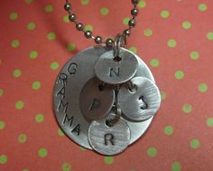 Custom Metal Stamped Mother Aunt Grandma Necklace with Childrens Initials