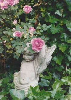 Roses and cherub Garden Whimsy, Pink Garden, Water Garden, Garden Art, Beautiful Flowers Garden, Beautiful Gardens, Amazing Gardens, Serenity Garden, Rose Cottage