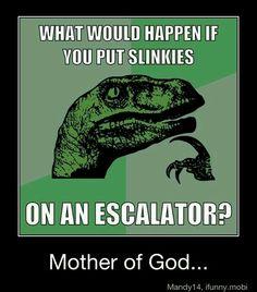 slinkies on an escalator