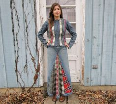 OOAK One of a Kind Tribal Denim Plaid Flannel Jacket Maxi Skirt Dress Ensemble// Upcycled// Cowgirl// Small// Multi Colored// emmevielle