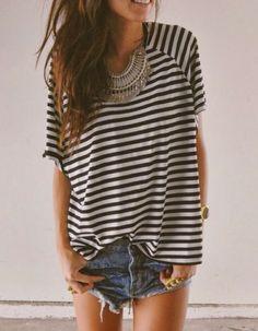 stripes t-shirt, statement necklace & denim shorts