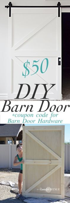 Sliding Barn Door Ideas - DIY British Brace Barn Door -with promo code for The Barn Door Hardware Store Remington Avenue Porta Diy, The Doors, Closet Bedroom, Diy Bedroom, Bathroom Closet, Master Closet, Closet Office, Trendy Bedroom, Hallway Closet