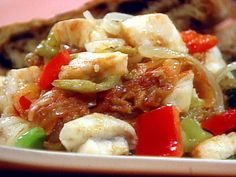 Sweet n Sour Monkfish : Saras Secrets : Food Network monkfish recipes Stuffed Green Peppers, Red Peppers, Monkfish Recipes, Food Network Recipes, Cooking Recipes, Sweet Red Pepper, Italian Olives, Sauteed Vegetables, How To Can Tomatoes