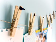 Love the idea of using twine and clothespins to display children's art in the classroom or at home.