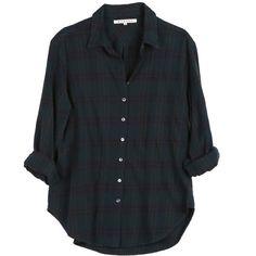 Xirena Beau Flannel Shirt found on Polyvore featuring tops, shirts, tartan top, hunter green shirt, flannel tops, oversized flannel shirt and plaid flannel shirt