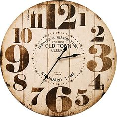 Round Off White Decorative Wall Clock With Big Numbers And Distressed Old Town face 23 x 23 inches Quartz movement * Read more at the image link.
