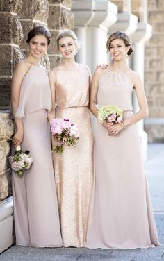 Mix-and-match bridesmaids dresses featuring gold sequin and new Vintage Rose from Sorella Vita