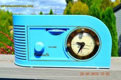 """PERIWINKLE Blue Golden Age Art Deco 1948 Plymouth Model 1600 AM Tube Clock Radio Totally Restored! DIMENSIONS: Approximately 12"""" x 5"""" x 6"""" (l x w x h) COLOR: PE"""