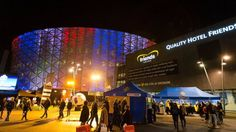 Friends Arena lit up before the European qualifier play-off between Sweden and Denmark