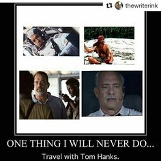 This made me laugh. ----- #Repost @thewriterink with @repostapp ・・・ For real! Thanks to @ms.wilhelm for the pic. 😆 #tomhanks #nothanks #movie #film #funny #filmhumor #moviehumor #castaway #apollo13 #writeon✌🏻️