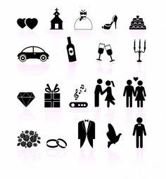 Wedding day black and white set icons