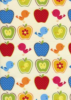 Apples & Birds Fabric Retro design for by LittleShopOStitches, $9.99