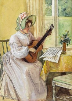 An Old Tune Albert Edelfelt (Finnish, Edelfelt studied history painting at the Antwerp Academy of Art before becoming a pupil of Jean-Léon Gérôme at the École Nationale des Beaux-Arts in Paris In Paris, he. Guitar Painting, Music Painting, Art Music, Art Themes, Vintage Music, Large Art, Art Reproductions, Art World, Female Art
