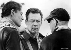 """John Wayne and William Holden listen to the director of """"The Horse Soldiers"""" John Ford, 1959 John Wayne, Actors Male, Actors & Actresses, I Movie, Movie Stars, Westerns, Francois Truffaut, John Ford, Actor John"""