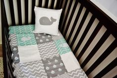 Bedding Set - Nautical Whale Baby Crib Nursery with Anchors, Sailboats, Whales in White, Grey Gray, and Mint