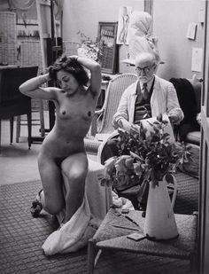Matisse drawing nude in his studio, rue des Plantes, Paris, 1939, by