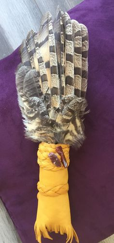Custom Naturally Sourced Owl Smudge Fan for a special client in South America for his Fire Ceremony! Smudging, South America, Feathers, Dream Catcher, Winter Hats, Owl, Fans, How To Make, Dream Catchers