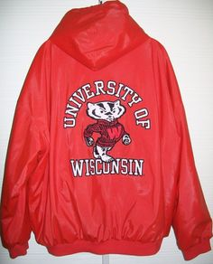 XXL University Wisconsin Badger Hooded Rain Jacket NCAA 2Xl Mens PVC All Weather #stevebarrys #WisconsinBadgers