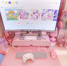 Gamer Setup, Gaming Room Setup, Pc Setup, Gaming Rooms, Gaming Desk, Computer Desks, Desk Setup, Desk Chair, Cute Room Ideas