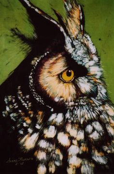 owl batik by Diane Burns Art Visage, Owl Crafts, Silk Art, Owl Bird, Animal Totems, Animal Wallpaper, Cute Owl, Cool Paintings, Wildlife Art