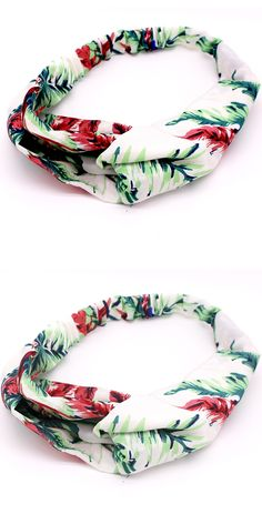 Metting Joura Vintage Bohemian Green Flower Chiffon Cross Ethnic Fabric Elastic Turban Holiday Headband Hair Accessories