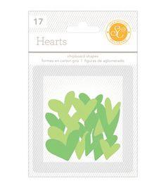 Essentials Chipboard Shapes Hearts 17/Pkg