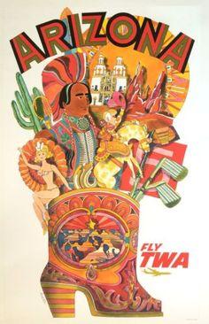 Original-Travel-Poster-TWA-David-Klein-Arizona-SCARCE-Vintage-Airline-Art-c1960