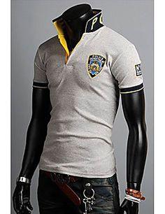 Hombres Versión Coreana bordado la camiseta del POLO Polo Shirt, T Shirt, Motorcycle Jacket, Tights, Polo Ralph Lauren, Long Sleeve, Sleeves, Mens Tops, Jackets