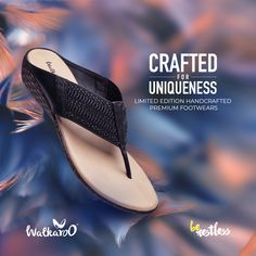 Be elegant, be unique! Presenting the limited-edition premium handcrafted footwear from Walkaroo. #Walkaroo #BeRestless #HandCraftedFashion Walking, Footwear, Sandals, Elegant, Casual, Shoes, Products, Women, Fashion