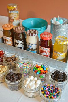 Creating an ice cream sundae bar is easy to do with Smucker's Ice Cream Toppings. Creating an ice cream sundae bar is easy to do with Smucker's Ice Cream Toppings. Bar Sundae, Fete Shopkins, Party Fiesta, Neon Party, Bbq Party, Candy Party, Party Favors, Mantecaditos, 13th Birthday Parties