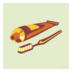 Toothbrush and Toothpaste Prints by Pop Ink - CSA Images at AllPosters.com