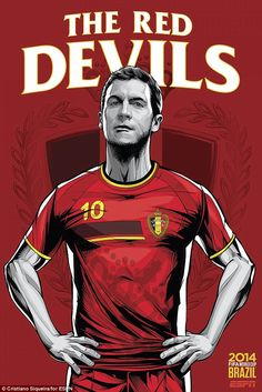 Belgium national football team poster by brazilian designer Cristiano Siqueira. FIFA World Cup 2014 Brazil. Brazil World Cup, World Cup 2014, Football Art, National Football Teams, Football Posters, Sports Posters, World Cup Teams, Fifa World Cup, Chelsea Fc