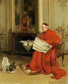 Reading the News by Belgian Painter Georges Croegaert 1848-1923